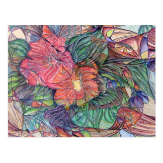 """Stained Glass"" Flowers Postcard"
