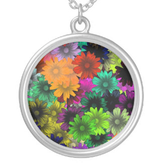 Stained glass flowers round pendant necklace