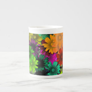 Stained glass flowers tea cup
