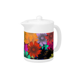 Stained glass flowers teapot