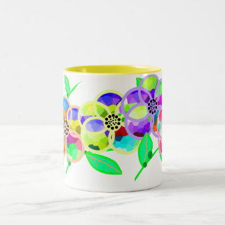 Stained Glass Flowers Two-Tone Coffee Mug