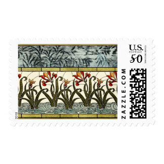 Stained Glass Flowers with Tan Border Postage