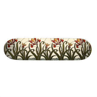 Stained Glass Flowers with Tan Border Skateboard