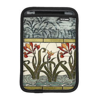Stained Glass Flowers with Tan Border Sleeve For iPad Mini