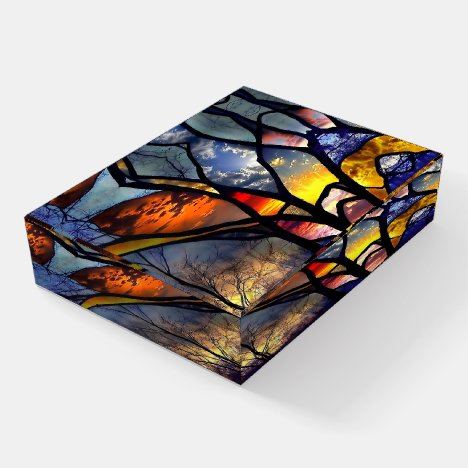 Stained Glass Forest Paperweight