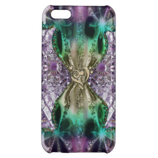 Stained Glass Fractal with Gold Music Clef Heart iPhone 5C Case