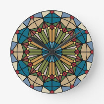 stained glass geometric pattern design modern round clock