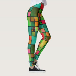 Stained Glass Geometric Watercolor Pattern Legging