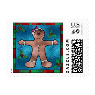 Stained glass gingerbread man postage stamps