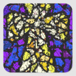 Stained glass gold Cross Square Stickers
