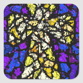 Stained glass gold Cross Square Sticker