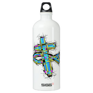 Stained glass graphic of The Cross and The Fish. Aluminum Water Bottle
