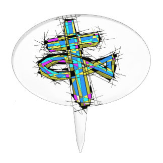 Stained glass graphic of The Cross and The Fish. Cake Topper