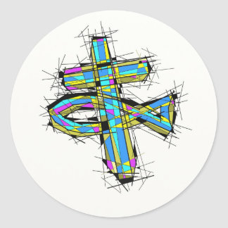 Stained glass graphic of The Cross and The Fish. Classic Round Sticker