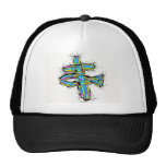 Stained glass graphic of The Cross and The Fish. Hat