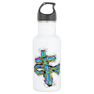 Stained glass graphic of The Cross and The Fish. Stainless Steel Water Bottle
