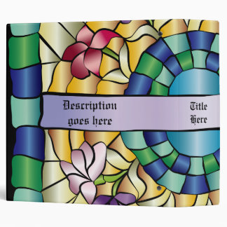 Stained Glass Hand-Drawn Colorful Jewel Flowers Binder