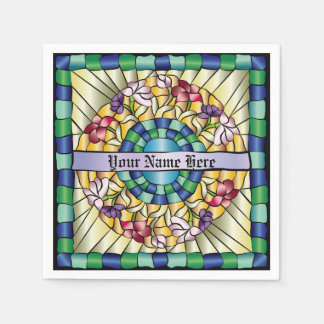 Stained Glass Hand-Drawn Colorful Jewel Flowers Napkin