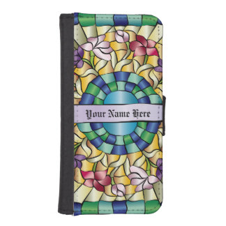 Stained Glass Hand-Drawn Colorful Jewel Flowers Phone Wallets