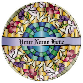 Stained Glass Hand-Drawn Colorful Jewel Flowers Plate