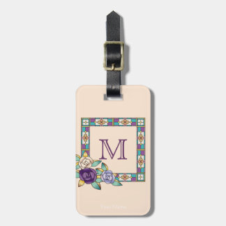 Stained Glass Hand-Drawn Roses Purple Peach Teal Bag Tag