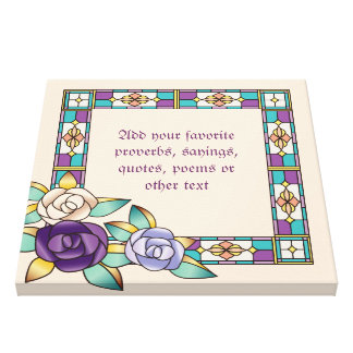 Stained Glass Hand-Drawn Roses Purple Peach Teal Canvas Print