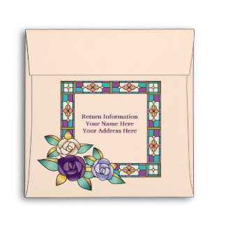 Stained Glass Hand-Drawn Roses Purple Peach Teal Envelope