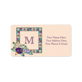 Stained Glass Hand-Drawn Roses Purple Peach Teal Label