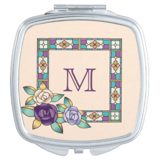 Stained Glass Hand-Drawn Roses Purple Peach Teal Makeup Mirror