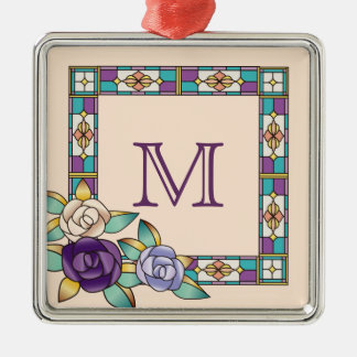 Stained Glass Hand-Drawn Roses Purple Peach Teal Metal Ornament
