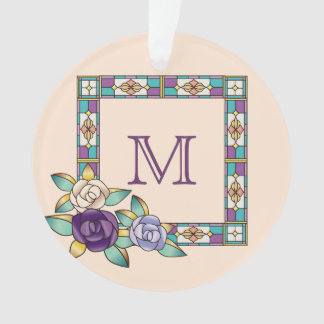 Stained Glass Hand-Drawn Roses Purple Peach Teal Ornament