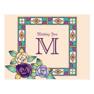 Stained Glass Hand-Drawn Roses Purple Peach Teal Postcard