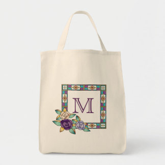 Stained Glass Hand-Drawn Roses Purple Peach Teal Tote Bag