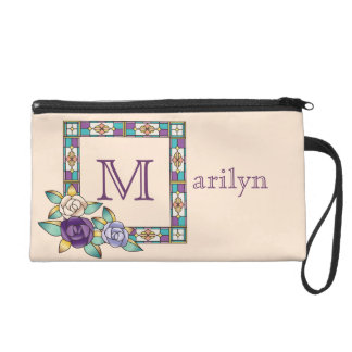 Stained Glass Hand-Drawn Roses Purple Peach Teal Wristlet Purse