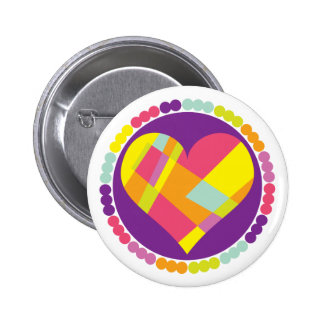 Stained Glass Heart Pinback Buttons