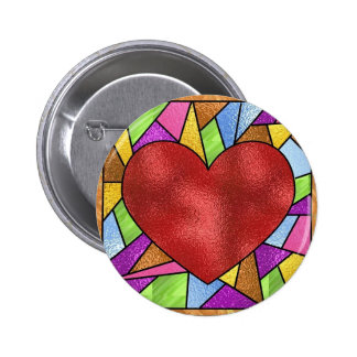 Stained Glass Heart Pin
