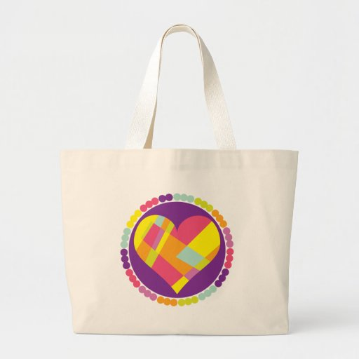Stained Glass Heart Canvas Bag
