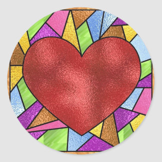 Stained Glass Heart Classic Round Sticker