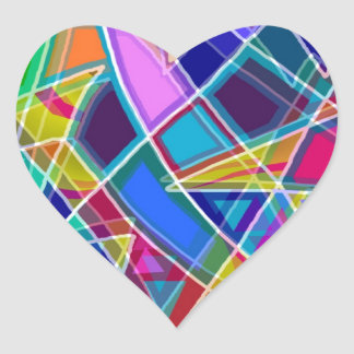 Stained Glass Heart Sticker