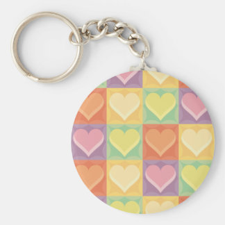 Stained Glass Hearts Key Chain