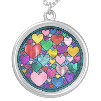 Stained Glass Hearts Necklace