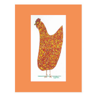 Stained Glass Hen: Hens Leaving the Henhouse Postcard