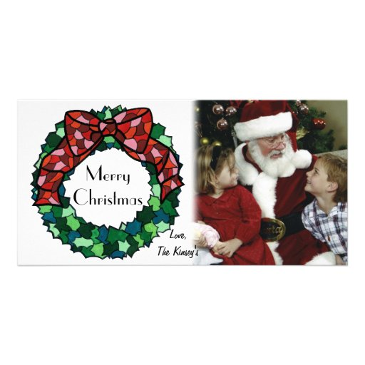Stained Glass Holiday Wreath Customized Photo Card