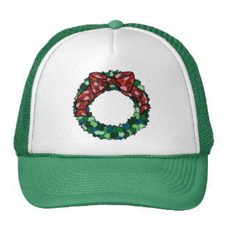Stained Glass Holiday Wreath Mesh Hat