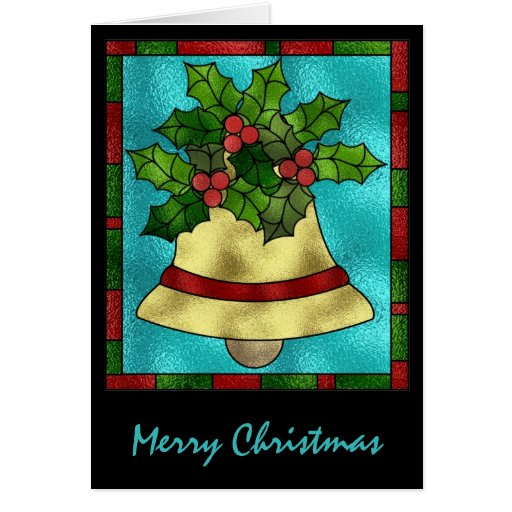 Stained glass holly and bell greeting card zazzle