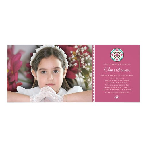 Stained Glass Holy First Communion Photo Keepsake 4x9.25 Paper Invitation Card