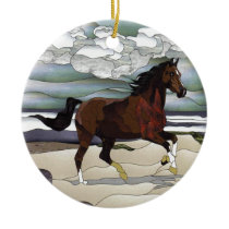 Stained glass horse ceramic ornament