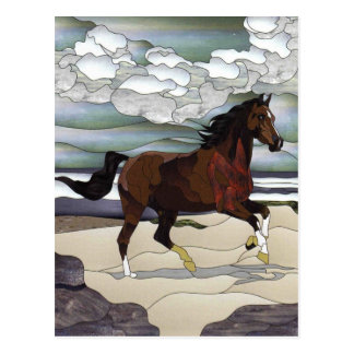 Stained glass horse postcard