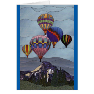 Stained glass hot air balloons card