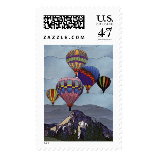 Stained glass hot air balloons postage